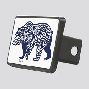 Bear Knotwork Blue Rectangular Hitch Cover